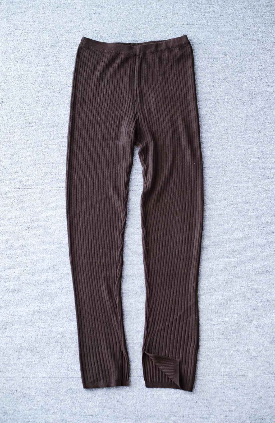 haco! あったか&オシャレに重ね着できる 便利なリブニットレギンス by style zampa <ブラウン>の商品写真2