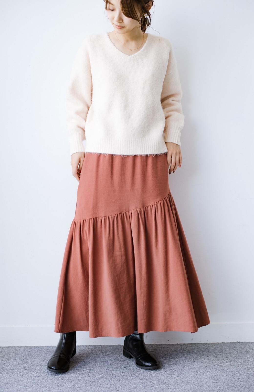 haco! ふんわりシルエットが華やかな大人ギャザースカート <スモークピンク>の商品写真17