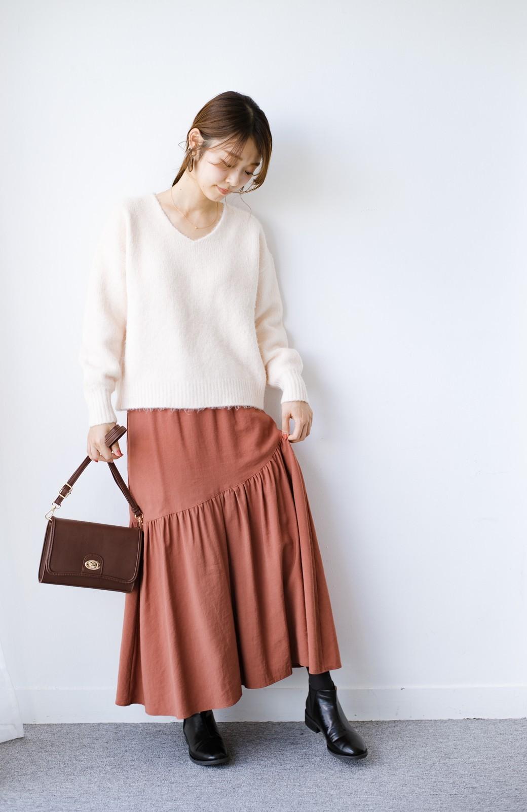 haco! ふんわりシルエットが華やかな大人ギャザースカート <スモークピンク>の商品写真12