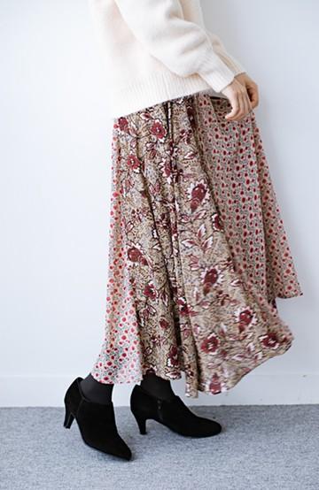 haco! 【洗濯機洗いOK】シンプルなトップスに合わせるだけでかわいくなれる MIX柄スカート <ベージュ系その他>の商品写真