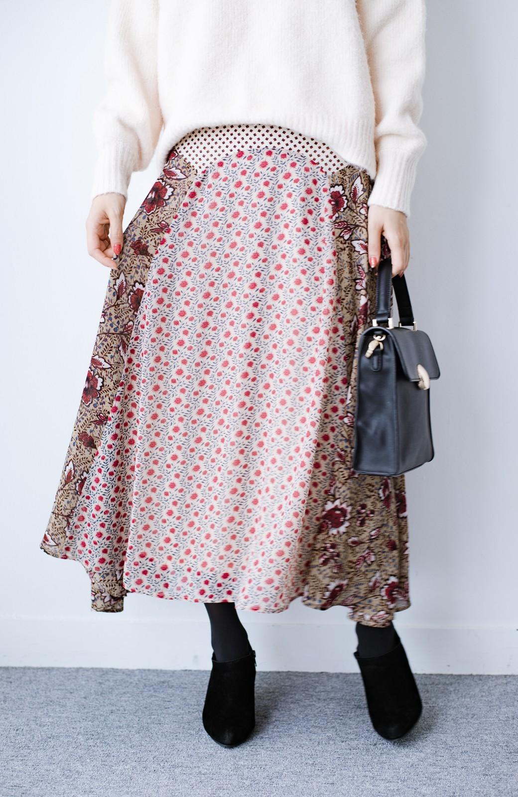 haco! 【洗濯機洗いOK】シンプルなトップスに合わせるだけでかわいくなれる MIX柄スカート <ベージュ系その他>の商品写真2