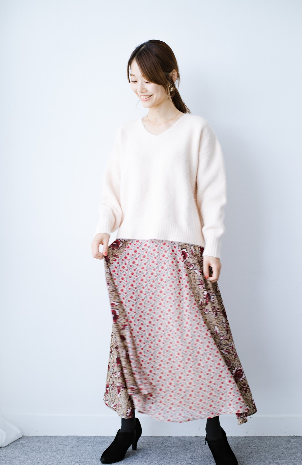 haco! 【洗濯機洗いOK】シンプルなトップスに合わせるだけでかわいくなれる MIX柄スカート <ベージュ系その他>の商品写真8