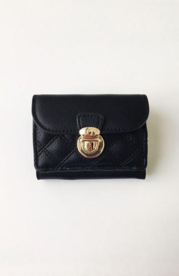 haco! Legato Largo キルティング 三つ折りミニ財布 <ブラック>の商品写真