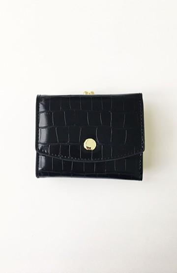 haco! Legato Largo クロコ型押し がま口三つ折りミニ財布 <ブラック>の商品写真