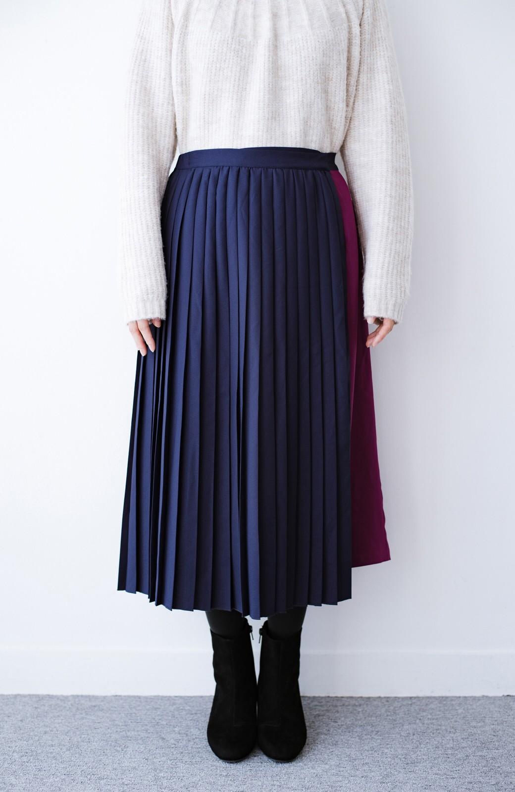 haco! 【背が小さい党】丈もウエストもぴったりサイズ!背が小さくたってすらーっと見えるプリーツスカート <ネイビー>の商品写真7