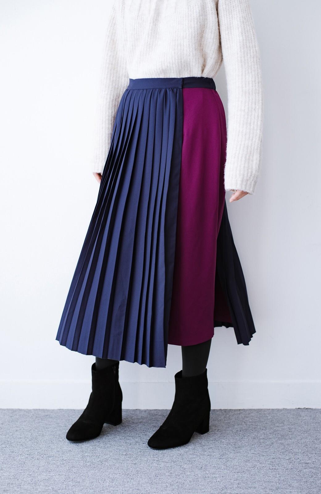 haco! 【背が小さい党】丈もウエストもぴったりサイズ!背が小さくたってすらーっと見えるプリーツスカート <ネイビー>の商品写真10