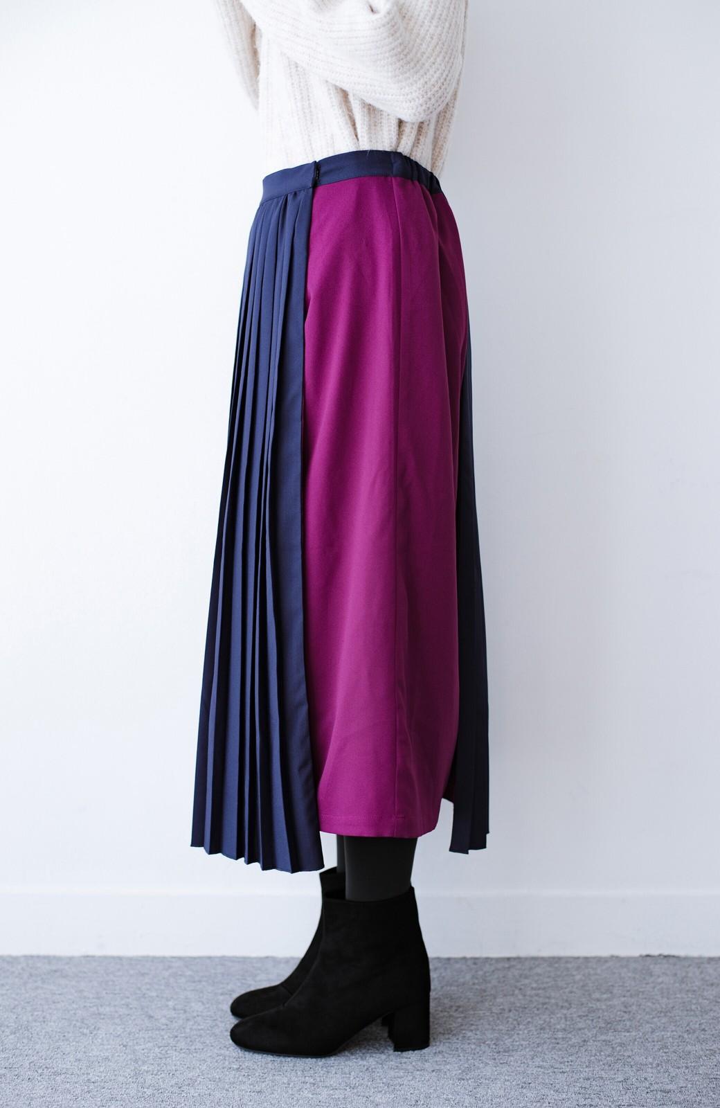 haco! 【背が小さい党】丈もウエストもぴったりサイズ!背が小さくたってすらーっと見えるプリーツスカート <ネイビー>の商品写真11