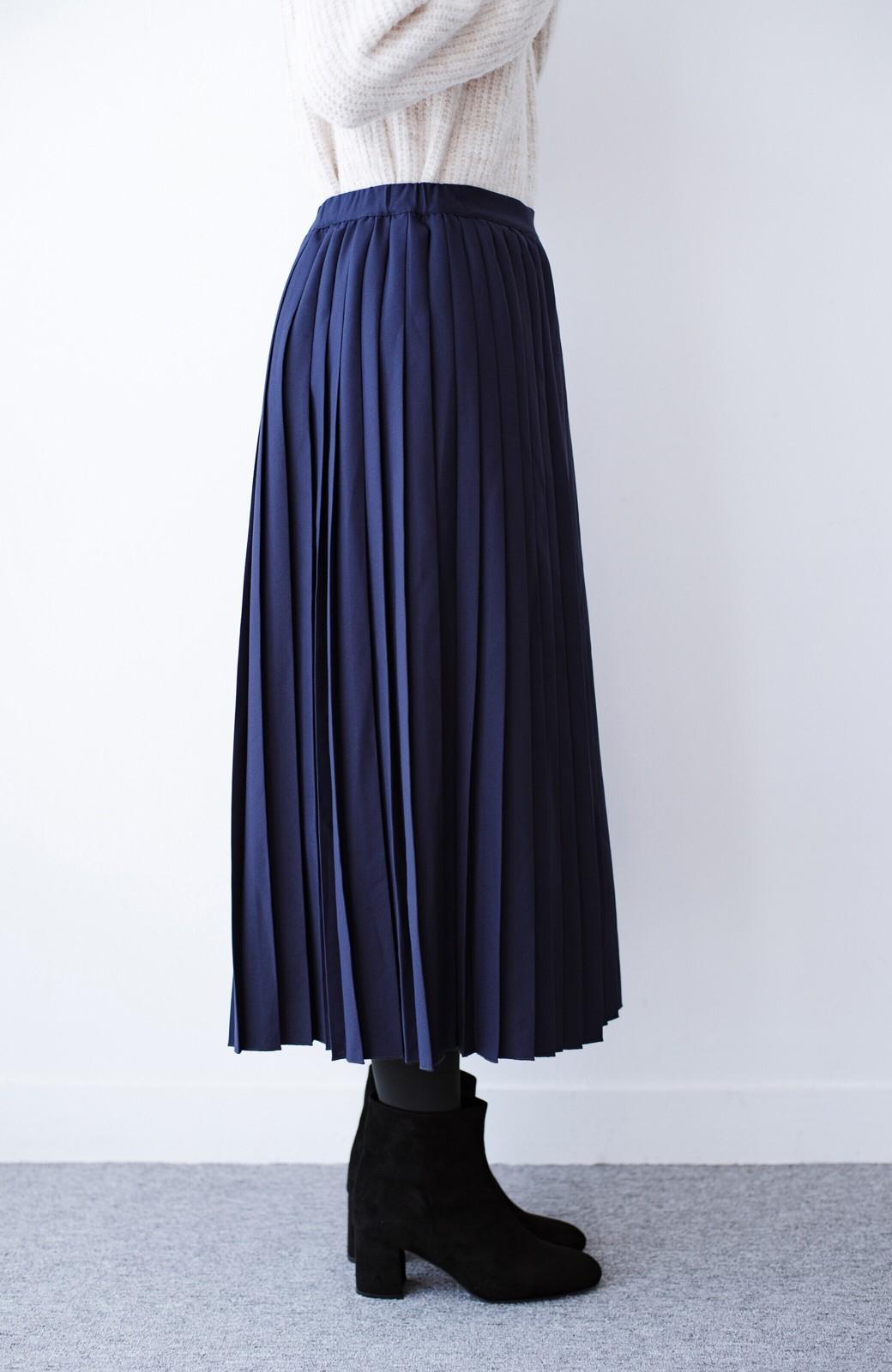 haco! 【背が小さい党】丈もウエストもぴったりサイズ!背が小さくたってすらーっと見えるプリーツスカート <ネイビー>の商品写真12