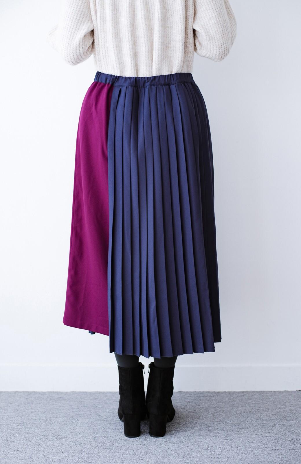 haco! 【背が小さい党】丈もウエストもぴったりサイズ!背が小さくたってすらーっと見えるプリーツスカート <ネイビー>の商品写真13