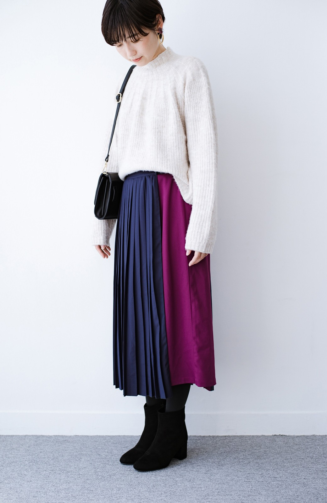 haco! 【背が小さい党】丈もウエストもぴったりサイズ!背が小さくたってすらーっと見えるプリーツスカート <ネイビー>の商品写真21