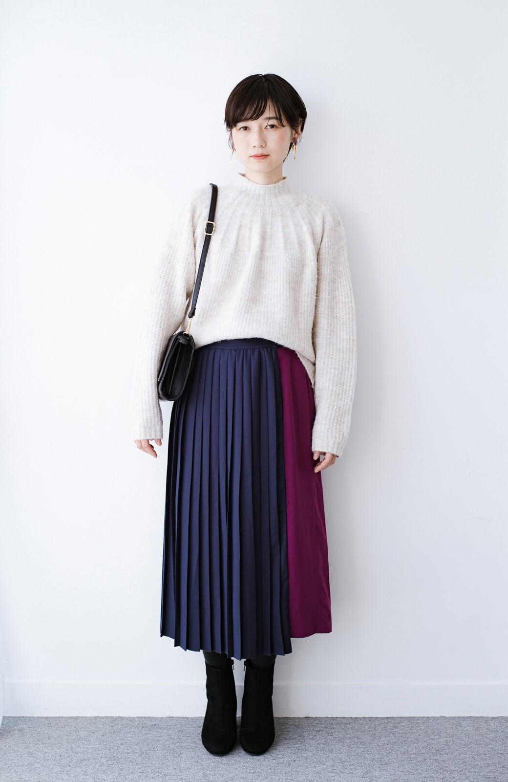 haco! 【背が小さい党】丈もウエストもぴったりサイズ!背が小さくたってすらーっと見えるプリーツスカート <ネイビー>の商品写真18