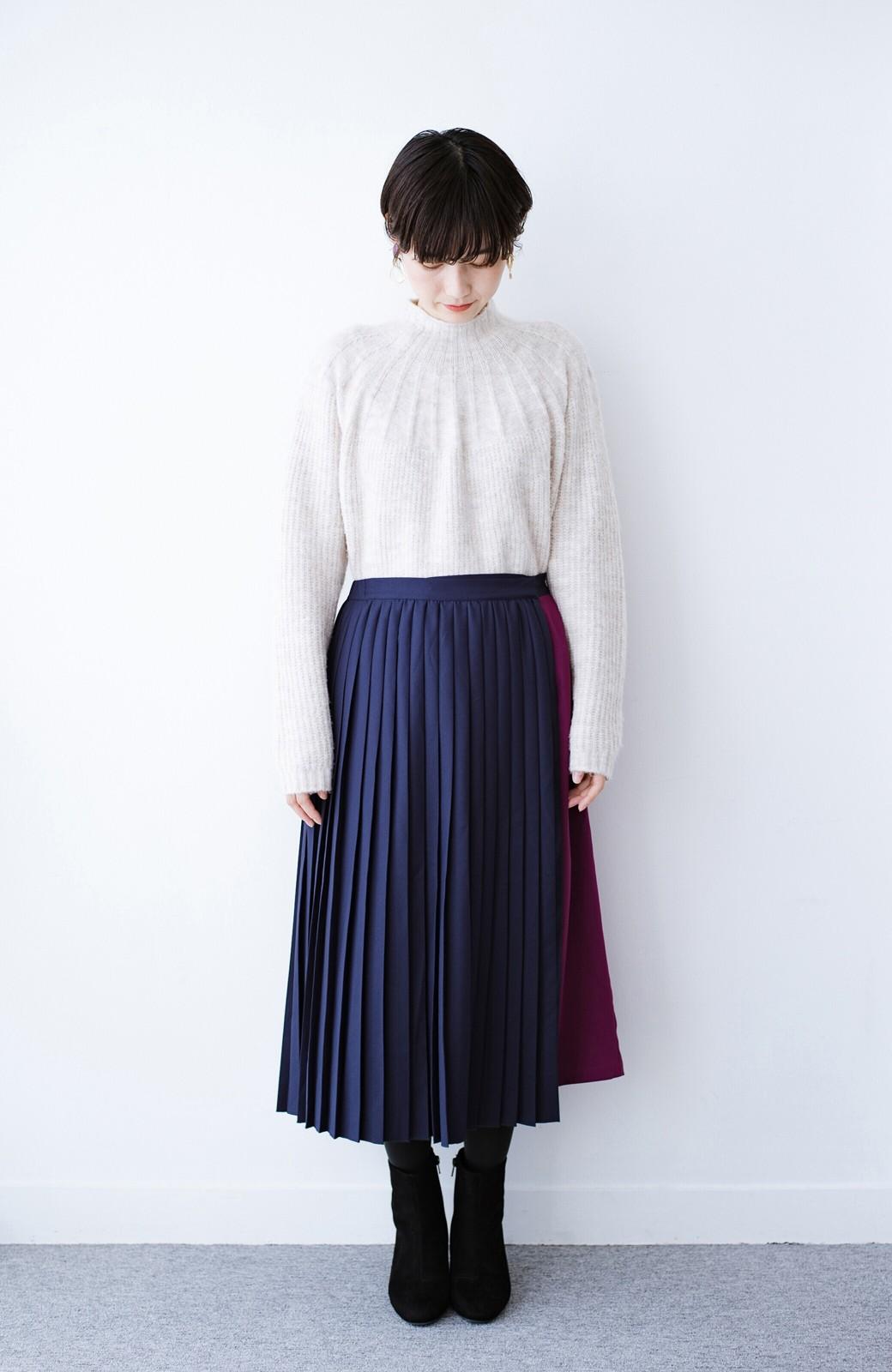 haco! 【背が小さい党】丈もウエストもぴったりサイズ!背が小さくたってすらーっと見えるプリーツスカート <ネイビー>の商品写真17