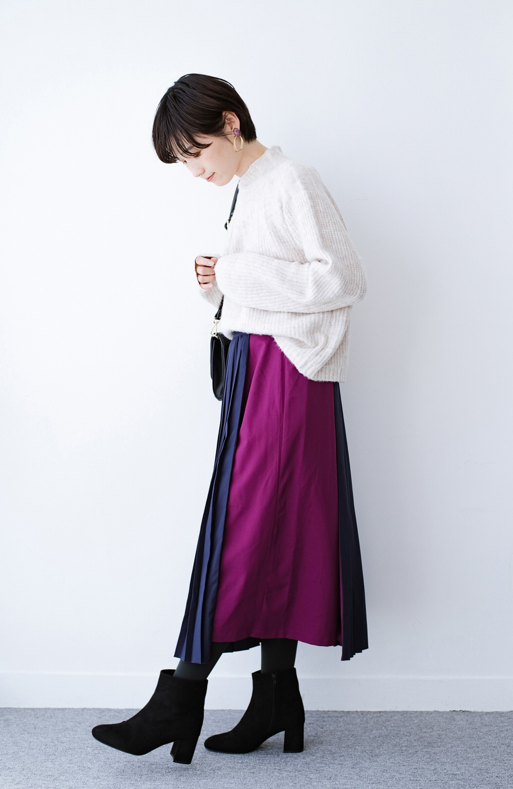haco! 【背が小さい党】丈もウエストもぴったりサイズ!背が小さくたってすらーっと見えるプリーツスカート <ネイビー>の商品写真19