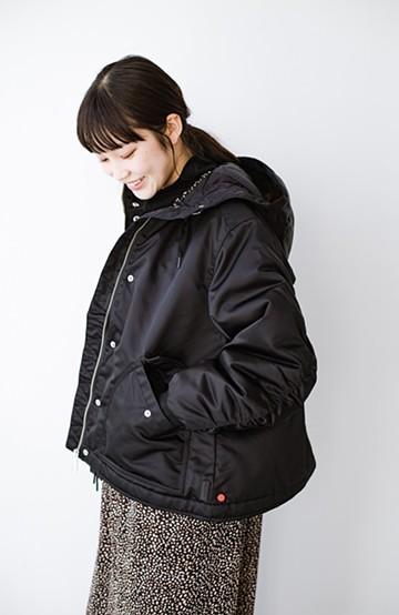 haco! HUNTER WOMENS ドローストリングボンバージャケット <ブラック>の商品写真
