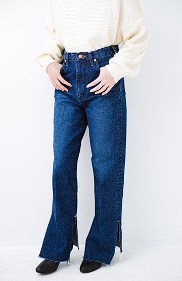 haco! Wrangler 自分で裾上げできる!サイドスリットストレートデニム <ブルー>の商品写真