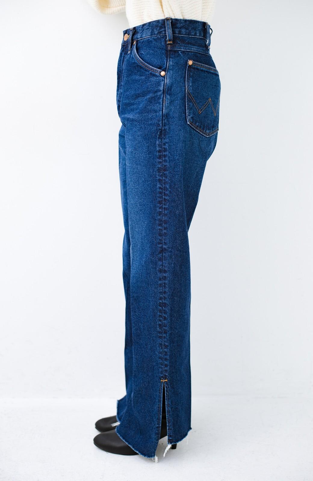 haco! Wrangler 自分で裾上げできる!サイドスリットストレートデニム <ブルー>の商品写真6