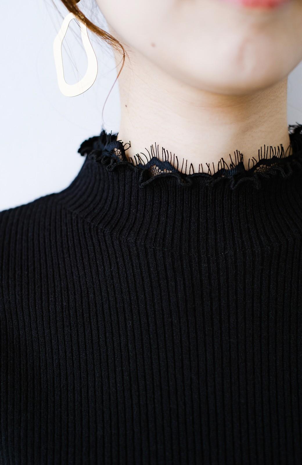 haco! 1枚でも重ね着でも便利!合わせやすくてかわいげを足せる 衿レース付きニットby style zampa <ブラック>の商品写真3