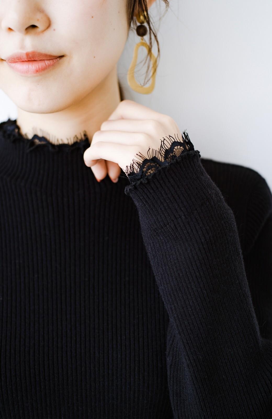 haco! 1枚でも重ね着でも便利!合わせやすくてかわいげを足せる 衿レース付きニットby style zampa <ブラック>の商品写真7