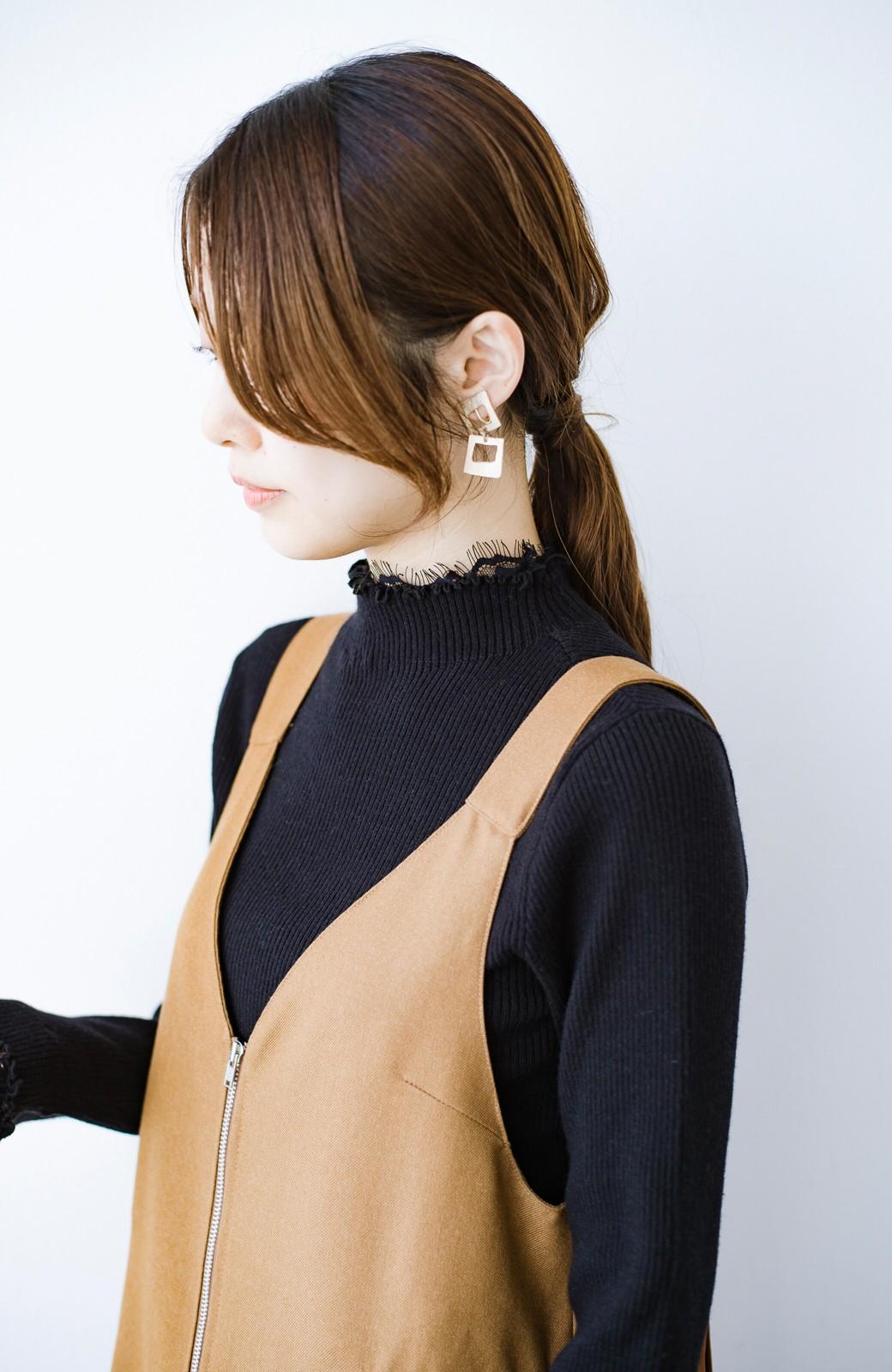 haco! 1枚でも重ね着でも便利!合わせやすくてかわいげを足せる 衿レース付きニットby style zampa <ブラック>の商品写真9