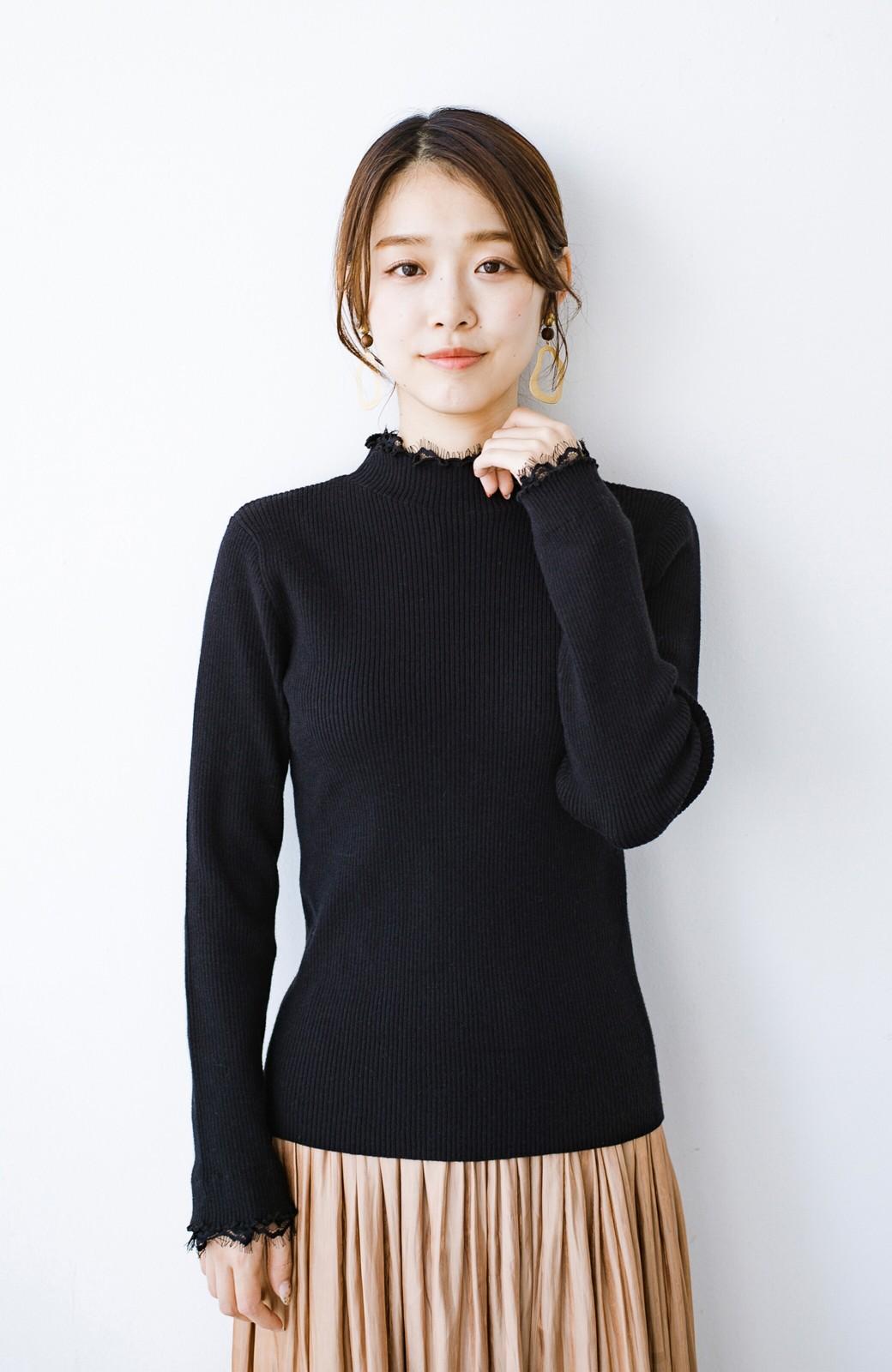 haco! 1枚でも重ね着でも便利!合わせやすくてかわいげを足せる 衿レース付きニットby style zampa <ブラック>の商品写真4