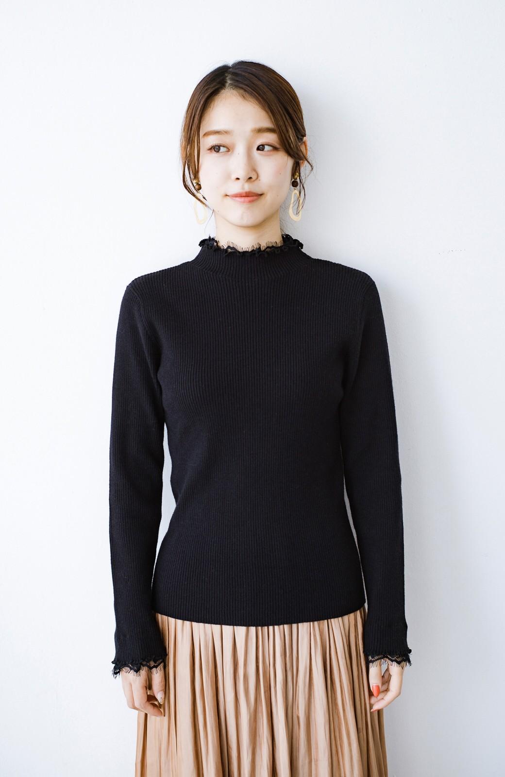 haco! 1枚でも重ね着でも便利!合わせやすくてかわいげを足せる 衿レース付きニットby style zampa <ブラック>の商品写真12