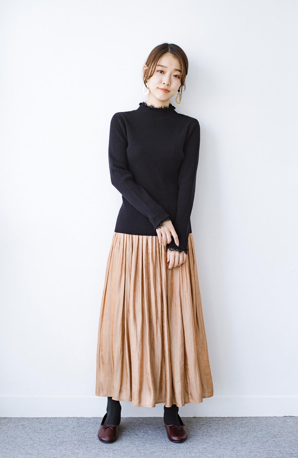 haco! 1枚でも重ね着でも便利!合わせやすくてかわいげを足せる 衿レース付きニットby style zampa <ブラック>の商品写真10