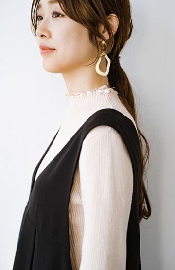 haco! 1枚でも重ね着でも便利!合わせやすくてかわいげを足せる 衿レース付きニットby style zampa <アイボリー>の商品写真