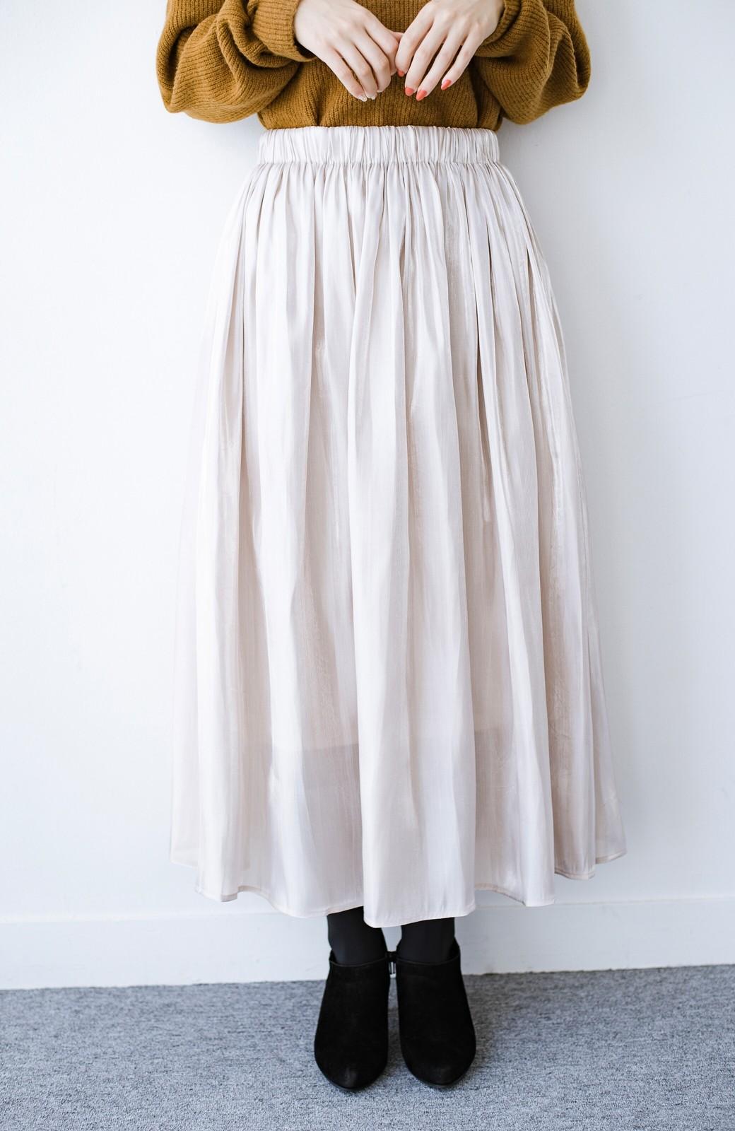 haco! 【人気のため新色追加!】1枚でも重ね着にも便利なキラキラ素材がかわいいロングスカート by laulea <アイボリー>の商品写真5