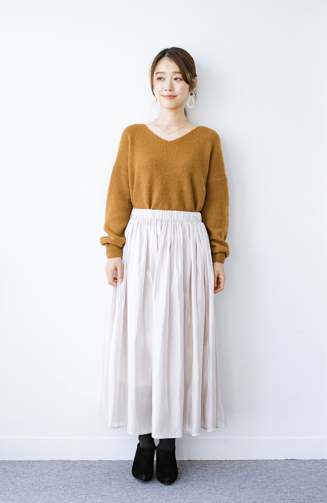 haco! 【人気のため新色追加!】1枚でも重ね着にも便利なキラキラ素材がかわいいロングスカート by laulea <アイボリー>の商品写真13