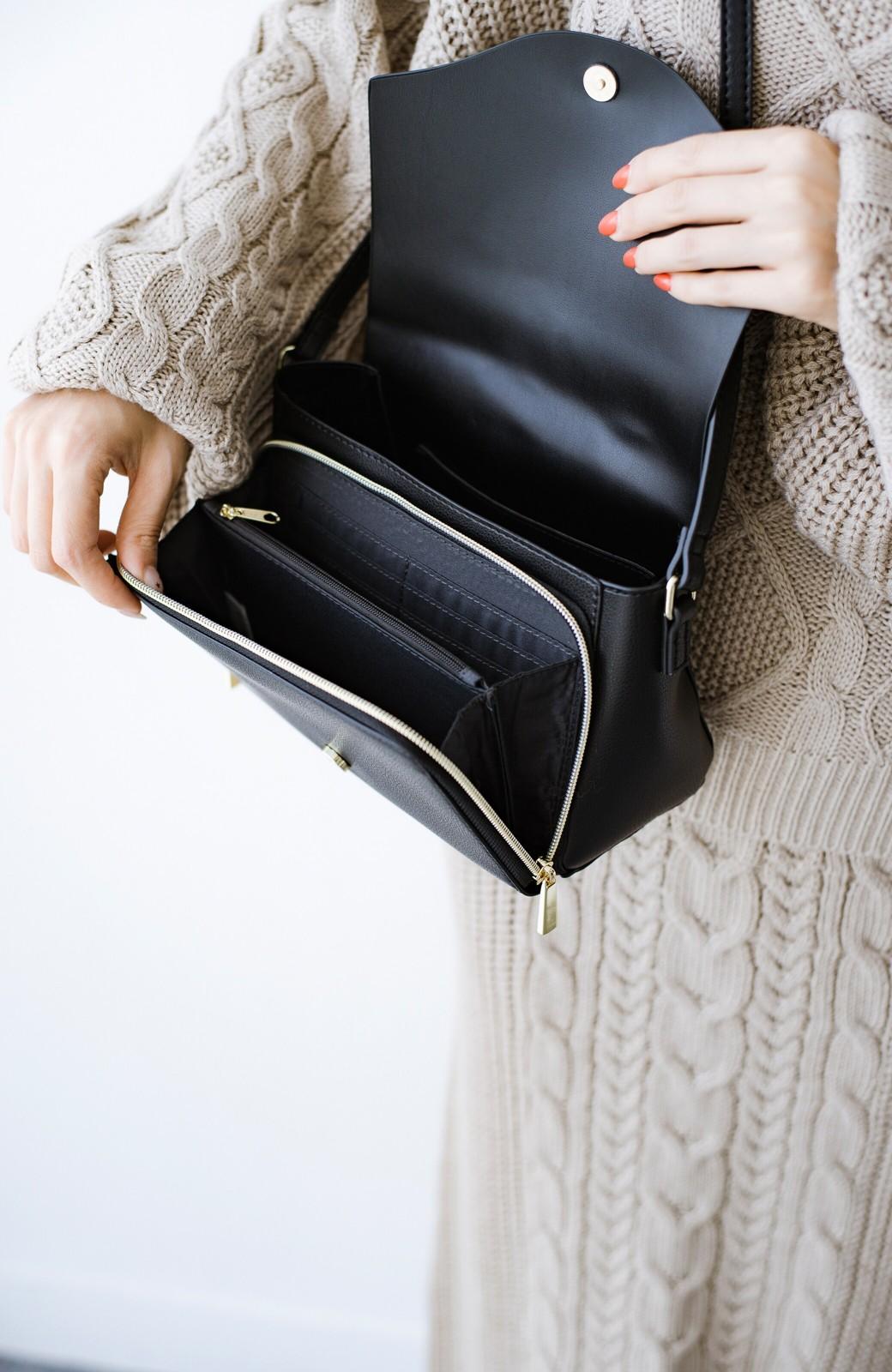 haco! Legato Largo かるいかばんシリーズ 軽量ボンディングフェイクレザー お財布ショルダーバッグ <ブラック>の商品写真4