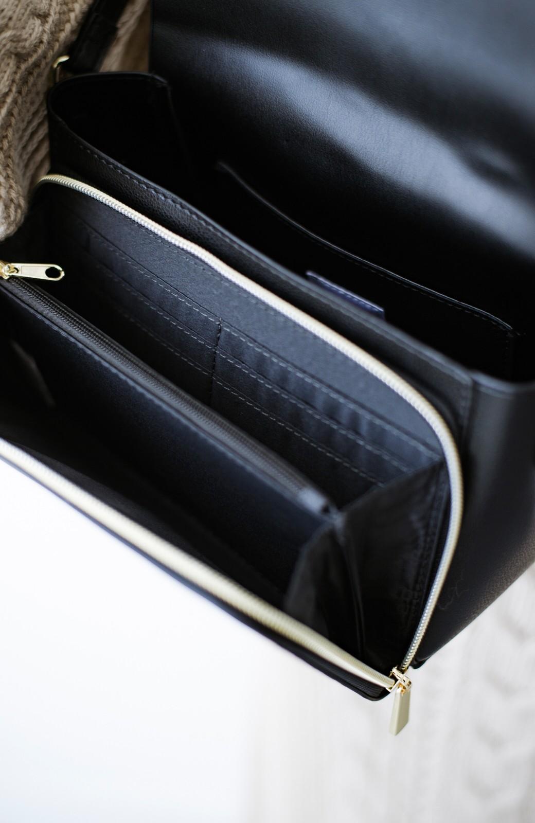 haco! Legato Largo かるいかばんシリーズ 軽量ボンディングフェイクレザー お財布ショルダーバッグ <ブラック>の商品写真5