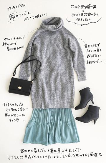 haco! 冬服を鮮やかに彩る 重ね着にも便利なタートルニットワンピースときれい色消しプリーツスカート2点セット <その他>の商品写真