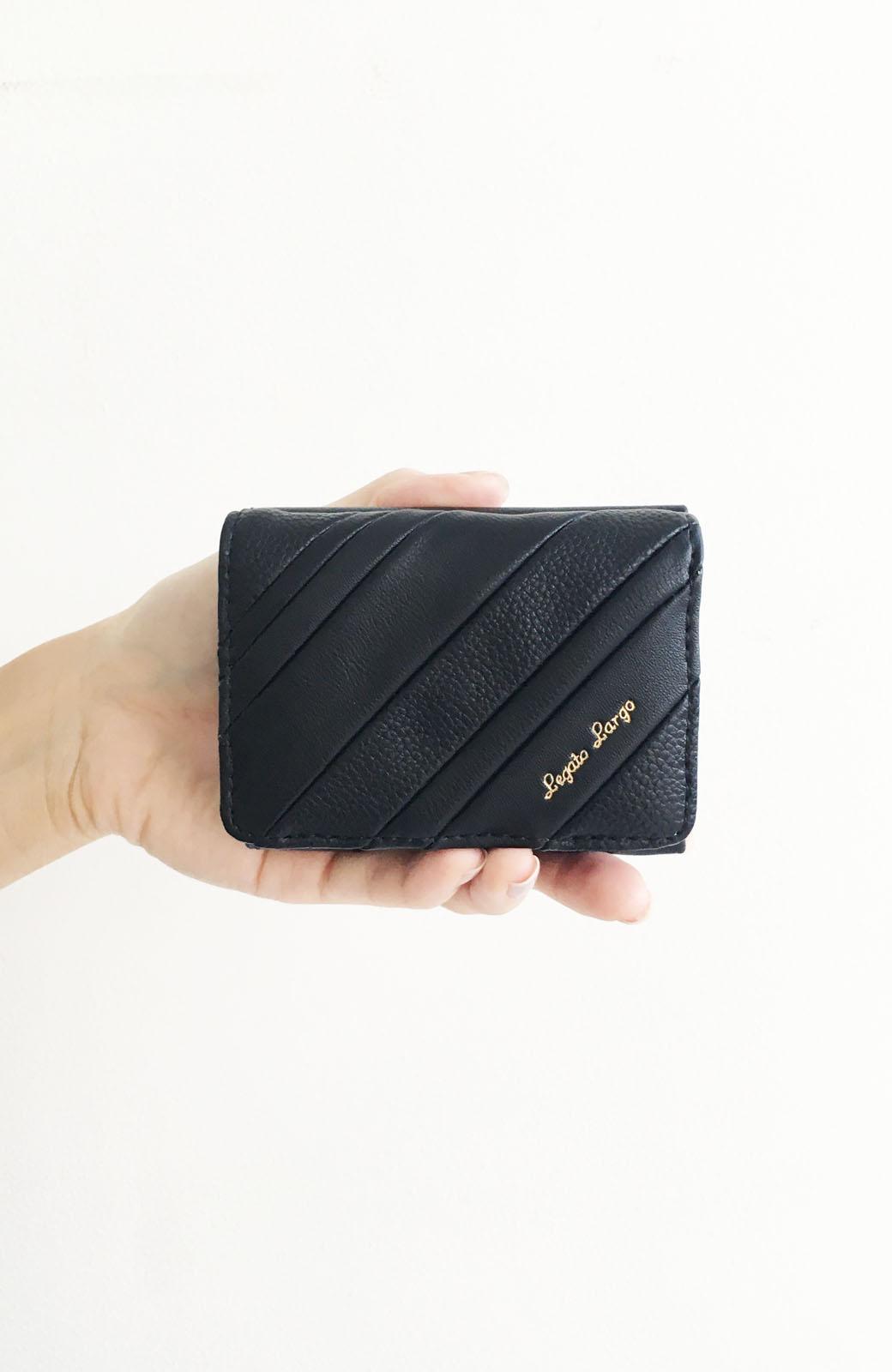 haco! Legato Largo ストライプの切り替えが華やかな三つ折ミニ財布 <ブラック>の商品写真2
