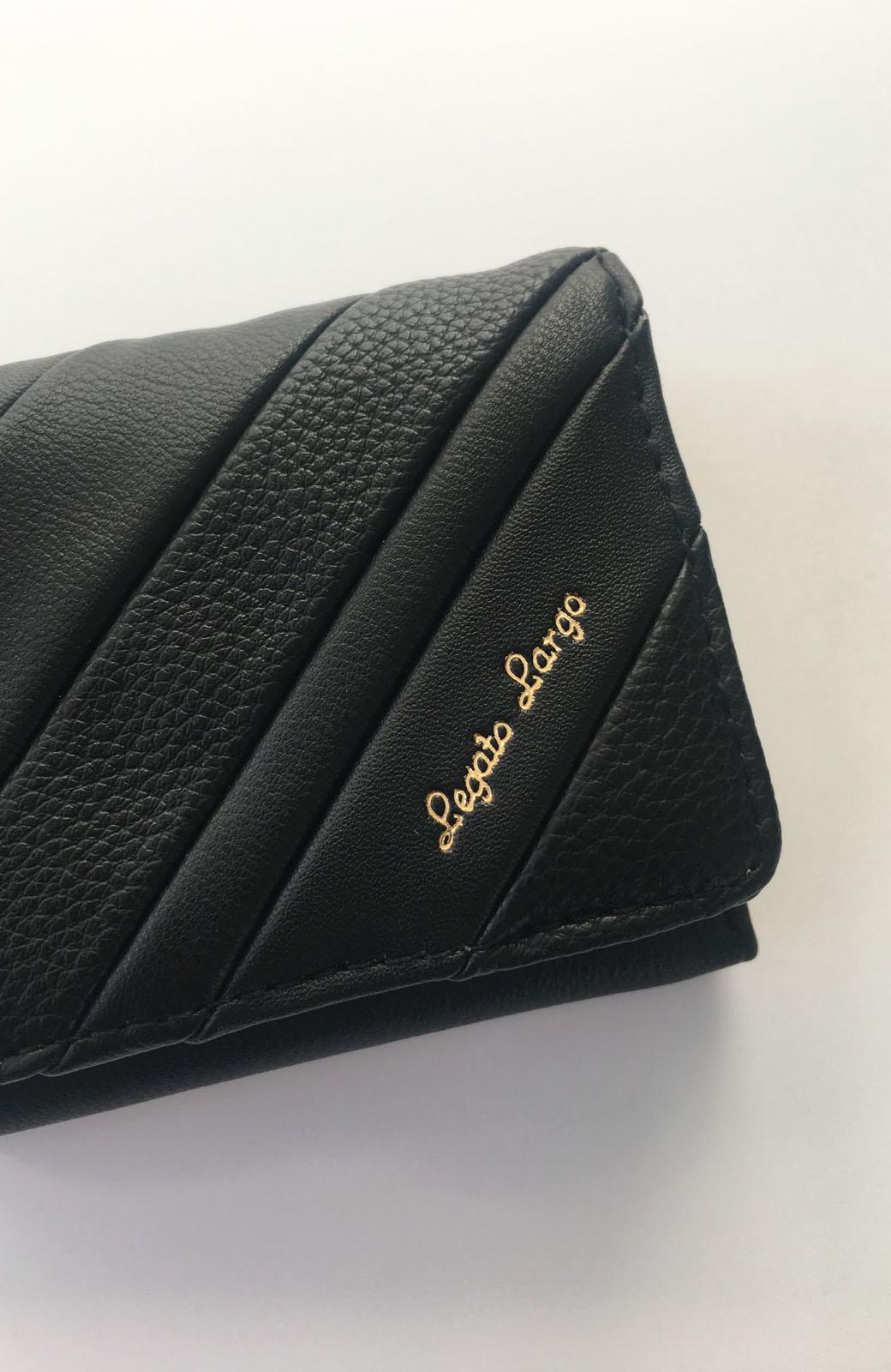 haco! Legato Largo ストライプの切り替えが華やかな三つ折ミニ財布 <ブラック>の商品写真3