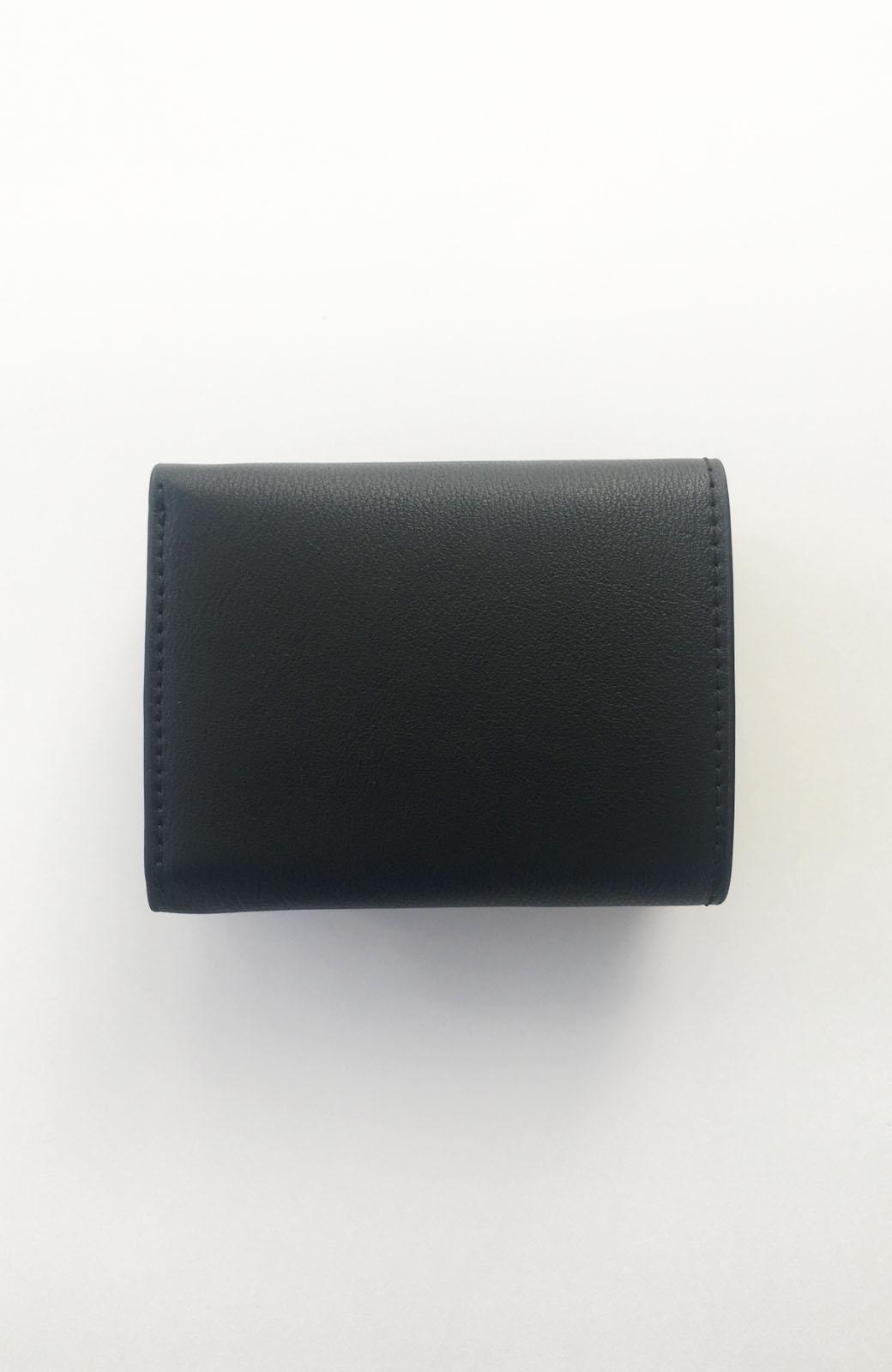 haco! Legato Largo ストライプの切り替えが華やかな三つ折ミニ財布 <ブラック>の商品写真4