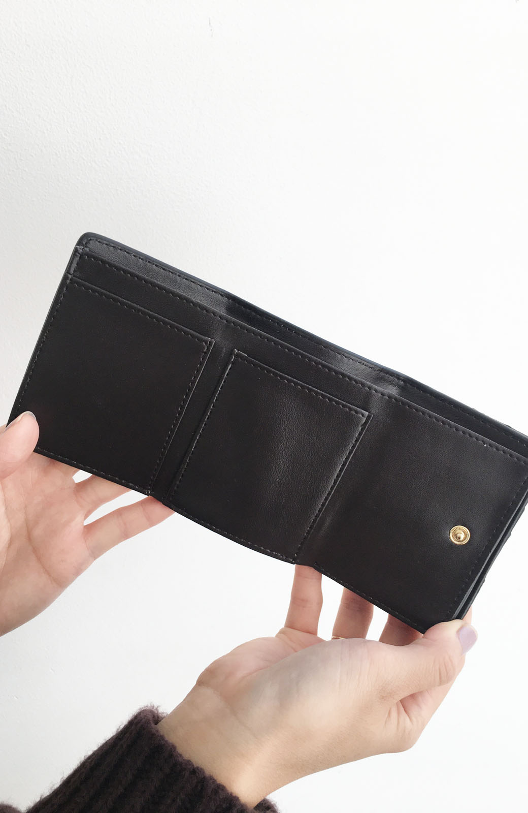 haco! Legato Largo ストライプの切り替えが華やかな三つ折ミニ財布 <ブラック>の商品写真5