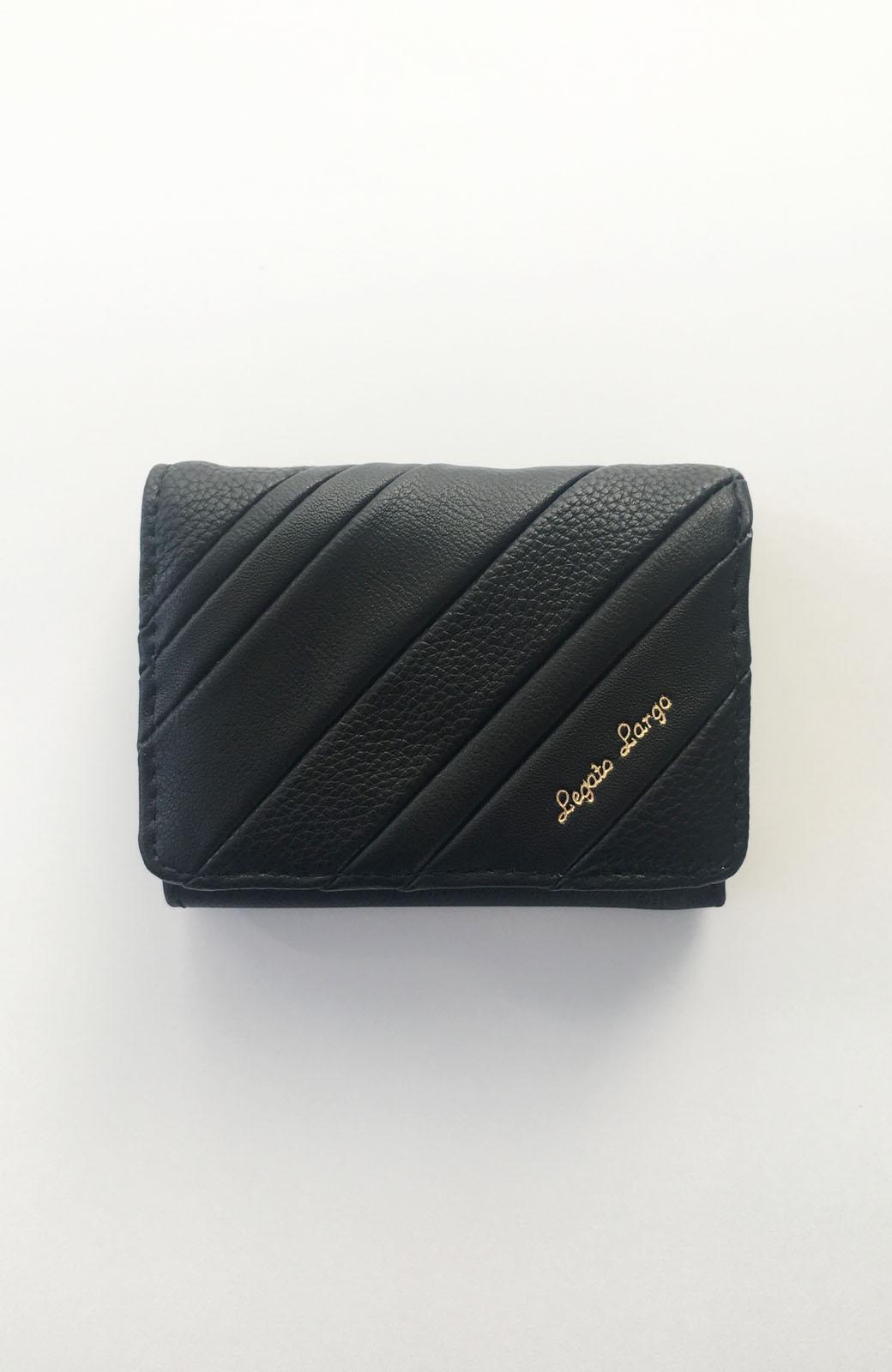 haco! Legato Largo ストライプの切り替えが華やかな三つ折ミニ財布 <ブラック>の商品写真1