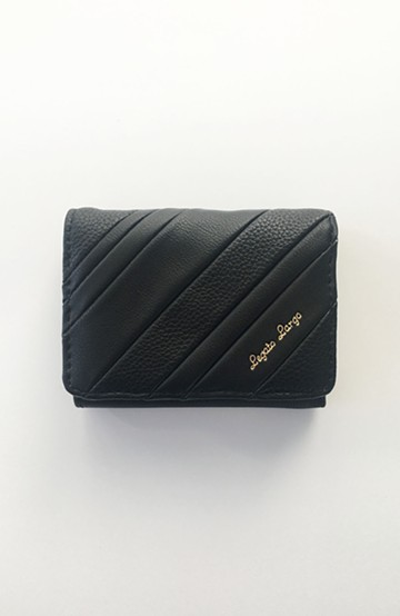 haco! Legato Largo ストライプの切り替えが華やかな三つ折ミニ財布 <ブラック>の商品写真