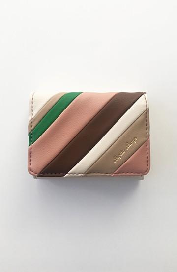 haco! Legato Largo ストライプの切り替えが華やかな三つ折ミニ財布 <ベージュ系その他>の商品写真
