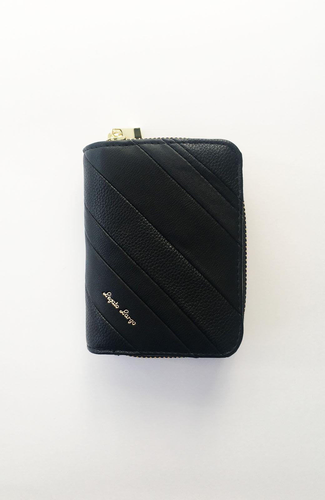 haco! Legato Largo ストライプの切り替えが華やかな二つ折財布 <ブラック>の商品写真3