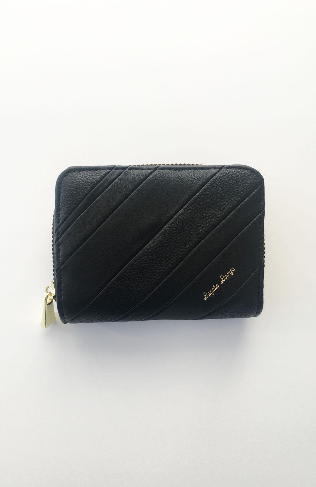 haco! Legato Largo ストライプの切り替えが華やかな二つ折財布 <ブラック>の商品写真1