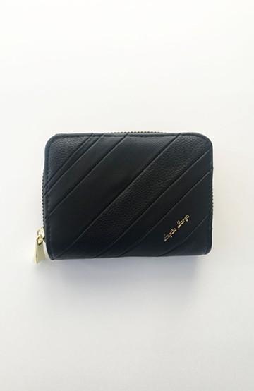 haco! Legato Largo ストライプの切り替えが華やかな二つ折財布 <ブラック>の商品写真