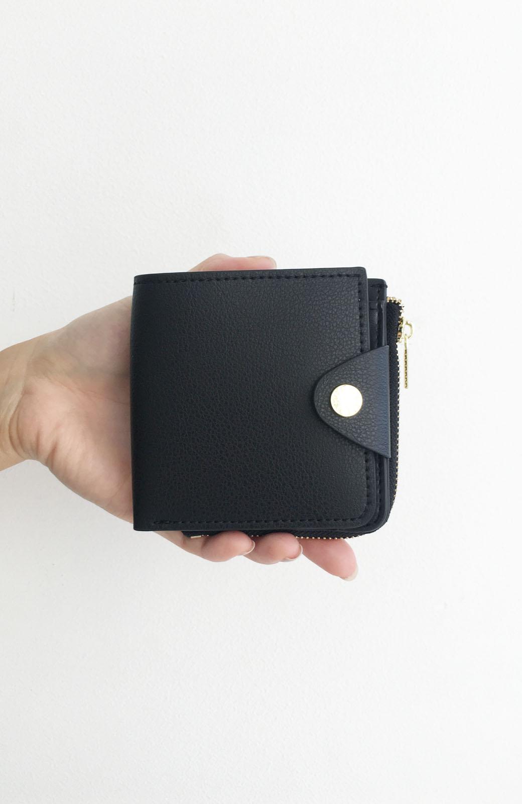 haco! Legato Largo うすいサイフシリーズ 軽量ボンディングフェイクレザー 二つ折り財布 <ブラック>の商品写真3