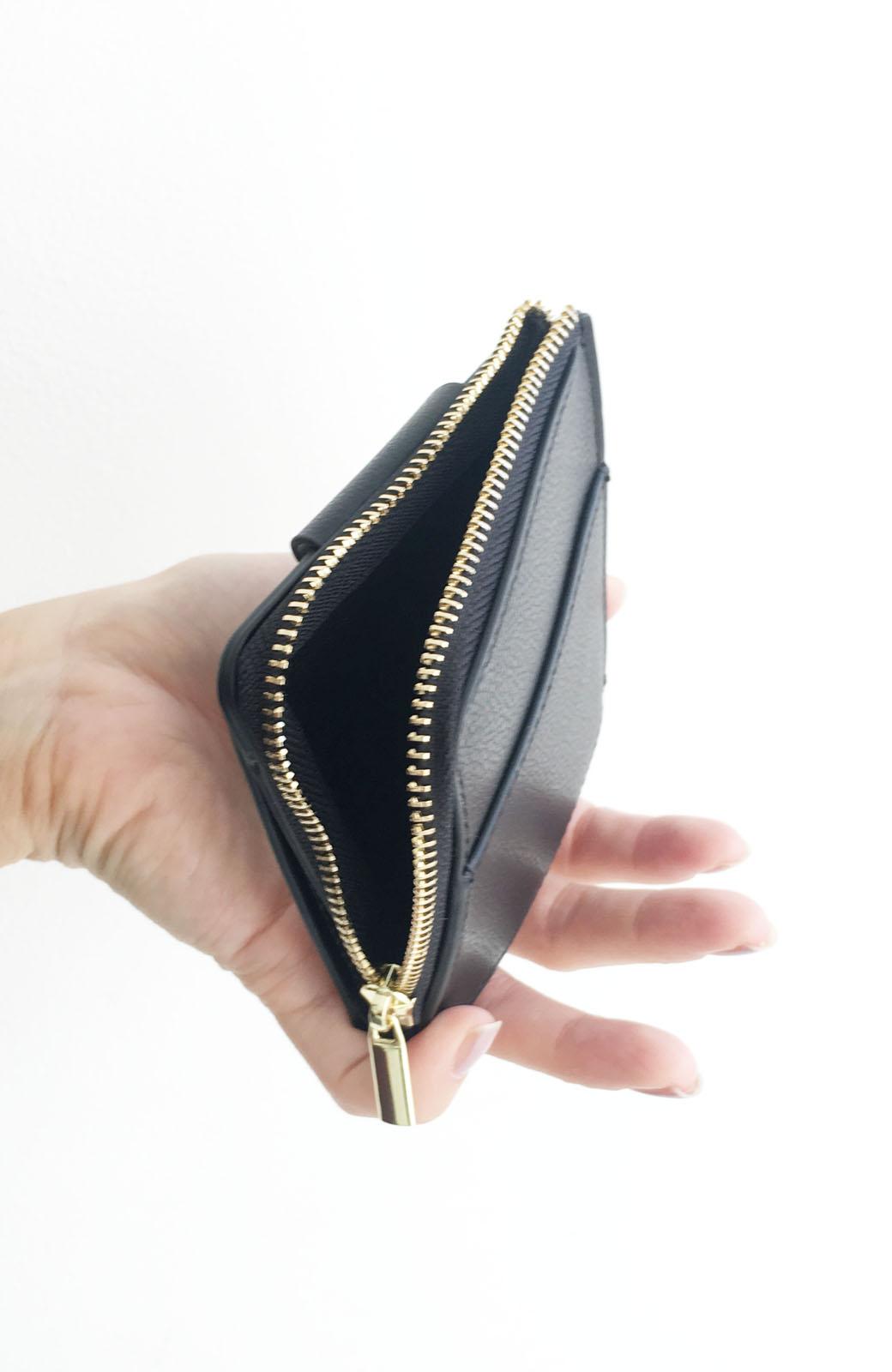 haco! Legato Largo うすいサイフシリーズ 軽量ボンディングフェイクレザー 二つ折り財布 <ブラック>の商品写真5