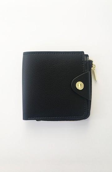 haco! Legato Largo うすいサイフシリーズ 軽量ボンディングフェイクレザー 二つ折り財布 <ブラック>の商品写真