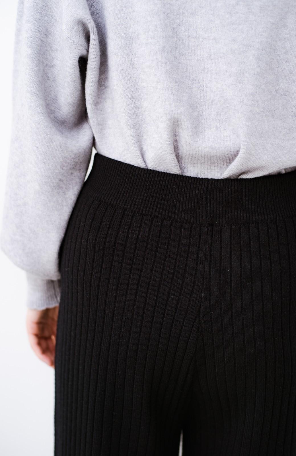 haco! 動きやすくてあったかい!重ね着にも便利なリブニットパンツ <ブラック>の商品写真4