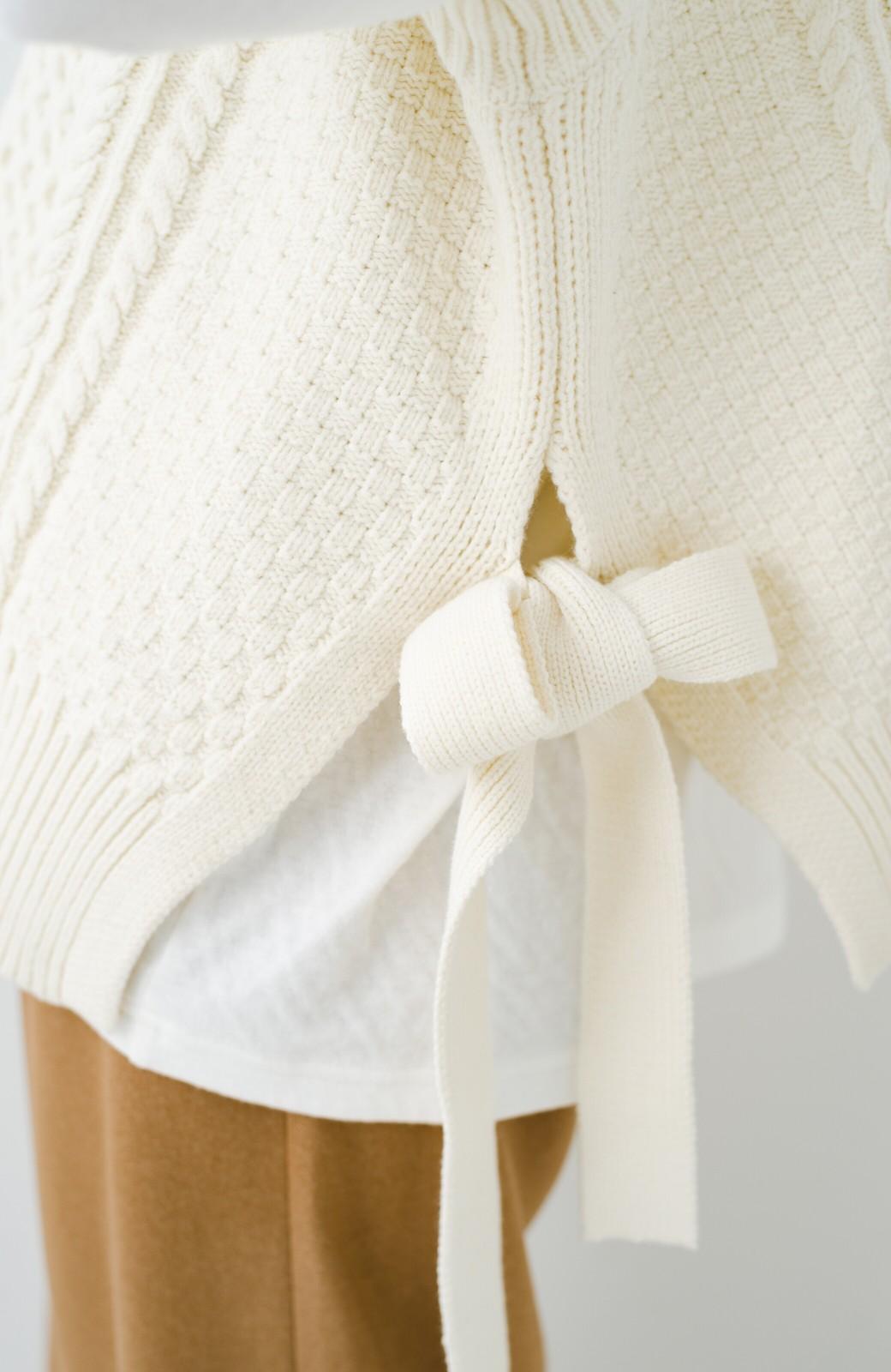 haco! ワンピースやシャツに重ねるだけであっという間に今っぽくなれるケーブル編みニットベスト <アイボリー>の商品写真12