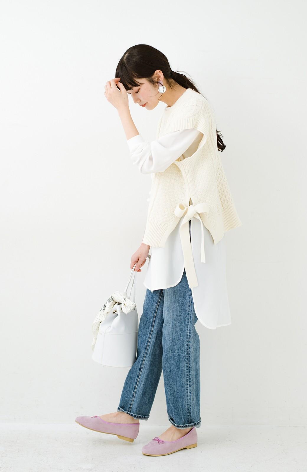 haco! ワンピースやシャツに重ねるだけであっという間に今っぽくなれるケーブル編みニットベスト <アイボリー>の商品写真18