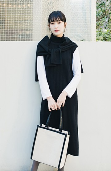 haco! セットで着るだけパッとかわいい ニットトップス&ノースリーブニットワンピースセット<ブラック>の商品写真