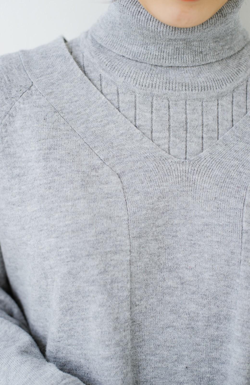 haco! セットで着るだけパッとかわいい ニットトップス&ノースリーブニットワンピースセット <グレー>の商品写真7